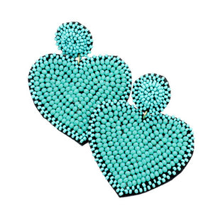 Turquoise Seed Bead Heart Earrings, spring is around the corner, bring pop of color to your day & make a statement with these hand-crafted to perfection heart earrings. Perfect Birthday Gift, Valentine's Day Gift, Anniversary Gift, Loved One Gift,  Mother's Day Gift, Seed Bead Earrings, Handcrafted Earrings, Just Because Gift
