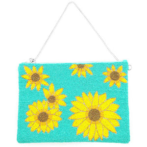 Bright Vibrant Clutch Bag, Seed Bead Sunflower Crossbody Bag,  Perfect Birthday Gift, Valentine's Day Gift, Anniversary Gift, Loved One Gift, Mother's Day Gift, Vacation Ready, Sunflower Clutch Bag, seed Bead Handbag, Handcrafted Handbag, Glass Handbag, Beach Crossbody Bag, Turquoise Sunflower Handbag