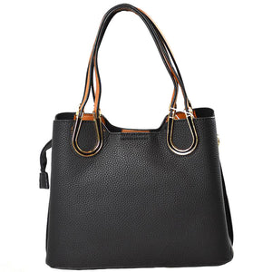 Black Vegan Tote Carryall Black Faux Leather Handbag Long-lasting Carryall structured go-anywhere bag featuring top handles & a detachable strap for everyday versatility. Best Seller Water Resistant Handbag