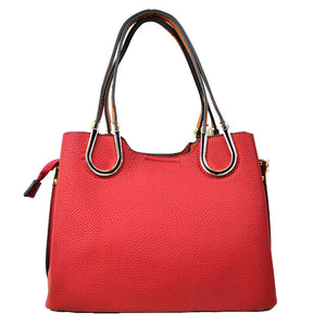 Red Vegan Tote Carryall Red Faux Leather Handbag Long-lasting Carryall structured go-anywhere bag featuring top handles & a detachable strap for everyday versatility. Best Seller Water Resistant Handbag