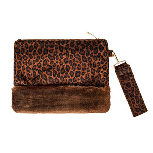 Vegan Leopard Faux Fur Trim Clutch Wristlet Bag Leopard Clutch Bag Wristlet Bag Evening Bag, Trendy evening bag will hold all your items. Easy to carry, slip your hand on back strap for extra security Perfect Gift Birthday, Christmas, Anniversary, Valentine's Day, Loved One, Special Occasion, Wedding, Prom, Graduation