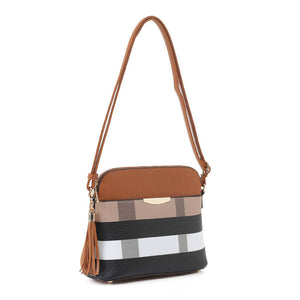 Vegan Tassel Plaid Checkered Crossbody Handbag Faux Leather Plaid Bag. The ever so classic plaid smooth texture gives the ultimate fashionista look easy to pair with your attire. It will be your new favorite carry all accessory bag. Perfect Gift for Birthday, Holiday, Christmas, New Years, Anniversary, Wife, Mom, etc