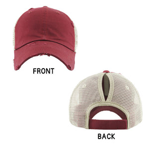 Distressed Burgundy Mesh Ponytail Trucker Cap Vintage Burgundy Mesh Ponytail Baseball Cap, comfy vintage cap great for a bad hair day, pull your bun or ponytail thru the back opening, keep your hair away from face while exercising, running, playing sports or just taking a walk. Perfect Birthday Gift, Mother's Day Gift, Anniversary Gift, Thank you Gift, Graduation