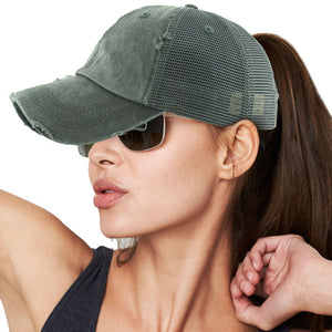 Distressed Dark Gray Mesh Ponytail Trucker Cap Vintage Dark Gray Mesh Ponytail Baseball Cap, comfy vintage cap great for a bad hair day, pull your bun or ponytail thru the back opening, keep your hair away from face while exercising, running, playing sports or just taking a walk. Perfect Birthday Gift, Mother's Day Gift, Anniversary Gift, Thank you Gift, Graduation