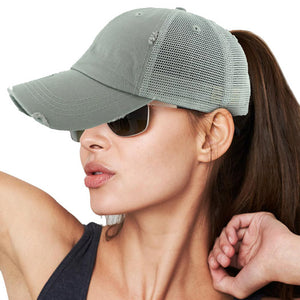 Distressed Light Gray Mesh Ponytail Trucker Cap Vintage Light Gray Mesh Ponytail Baseball Cap, comfy vintage cap great for a bad hair day, pull your bun or ponytail thru the back opening, keep your hair away from face while exercising, running, playing sports or just taking a walk. Perfect Birthday Gift, Mother's Day Gift, Anniversary Gift, Thank you Gift, Graduation