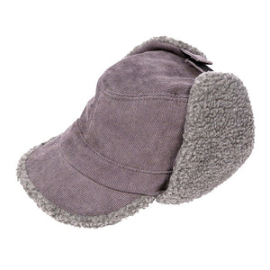 Gray Corduroy Aviator Sherpa Lining Cap Corduroy Aviator Sherpa Lining Hat Winter Hat, you'll want to reach for this toasty warm cap for chilly days or having a bad hair day. Sherpa Cap keeps you incredibly warm will looking totally trendy & chic. Perfect Gift Birthday, Christmas, Anniversary, Valentine's Day, Loved One