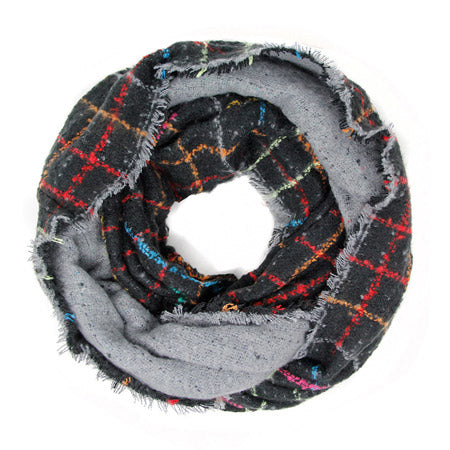 Warm Multicolor Windowpane Plaid Infinity Scarf Cozy Plaid Endless Loop, accent your look with this soft, highly versatile plaid scarf. A rugged staple, classic look, adds a pop of color, completes your outfit, keeping you cozy & toasty. Perfect Gift Birthday, Holiday, Christmas, Anniversary, Valentine's Day, Loved One