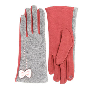 Warm Two Tone Bow Ribbon Smart Gloves Bow Two Tone Gloves Touchscreen Glove, Cozy, warm, chic, trendy style, gives that little extra to your outfit, stretch four ways for comfort; Tech-friendly at the index fingertips, Ideal for on the go, swipe away! Perfect Gift Birthday, Christmas, Holiday, Anniversary, Valentine's Day
