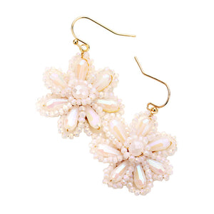 White Beaded Flower Earrings, jewelry that fits your lifestyle adding a pop of pretty color. Enhance your attire with this vibrant beautiful modish daisy dangle earrings. Perfect Birthday Gift, Mother's Day Gift, Anniversary Gift, Thank you Gift, complete your Easter Ensemble, Daisy Jewelry, Floral Earrings, Flower Earrings