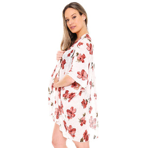 White Lightweight floral print Kimono easy to pair with many tops, from camis to relaxed tees, elevate any casual outfit! Luxurious, flowy kimono wear it over your swimsuit for a day in the sun. Perfect Birthday Gift, Anniversary Gift, Thank you Gift, Just because Gift, Mother's Day Gift, Beachwear, Spring/Summer wear
