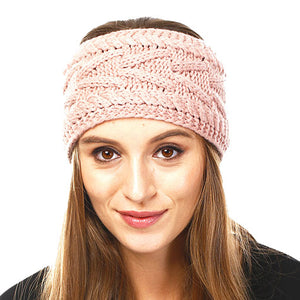 Wide Solid Pink Cable Knit Earmuff Headband Soft Pink Knit Ear Warmer Headband soft cable knit ear warmer will shield you from cold weather ensuring all day comfort. The ear band is wide, soft & comfortable adding a sleek style to your ensemble. Perfect Gift Christmas, Birthday, Holiday, Anniversary, Valentine's Day, Loved One