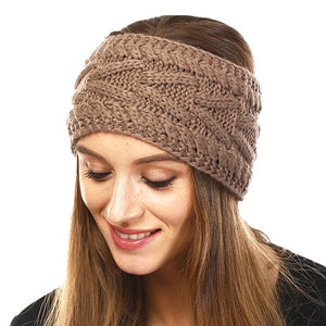 Wide Solid Taupe Cable Knit Earmuff Headband Soft Taupe Knit Ear Warmer Headband soft cable knit ear warmer will shield you from cold weather ensuring all day comfort. The ear band is wide, soft & comfortable adding a sleek style to your ensemble. Perfect Gift Christmas, Birthday, Holiday, Anniversary, Valentine's Day, Loved One
