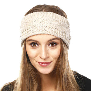 Wide Solid Beige Cable Knit Earmuff Headband Soft Beige Knit Ear Warmer Headband soft cable knit ear warmer will shield you from cold weather ensuring all day comfort. The ear band is wide, soft & comfortable adding a sleek style to your ensemble. Perfect Gift Christmas, Birthday, Holiday, Anniversary, Valentine's Day, Loved One