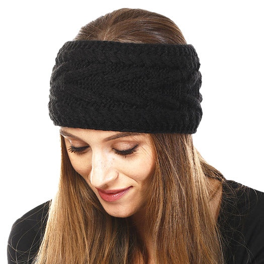 Wide Solid Black Cable Knit Earmuff Headband Soft Black Knit Ear Warmer Headband soft cable knit ear warmer will shield you from cold weather ensuring all day comfort. The ear band is wide, soft & comfortable adding a sleek style to your ensemble. Perfect Gift Christmas, Birthday, Holiday, Anniversary, Valentine's Day, Loved One