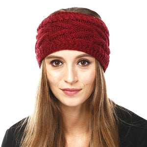Wide Solid Burgundy Cable Knit Earmuff Headband Soft Burgundy Knit Ear Warmer Headband soft cable knit ear warmer will shield you from cold weather ensuring all day comfort. The ear band is wide, soft & comfortable adding a sleek style to your ensemble. Perfect Gift Christmas, Birthday, Holiday, Anniversary, Valentine's Day, Loved One