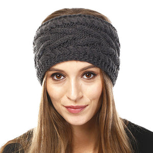 Wide Solid Gray Cable Knit Earmuff Headband Soft Gray Knit Ear Warmer Headband soft cable knit ear warmer will shield you from cold weather ensuring all day comfort. The ear band is wide, soft & comfortable adding a sleek style to your ensemble. Perfect Gift Christmas, Birthday, Holiday, Anniversary, Valentine's Day, Loved One