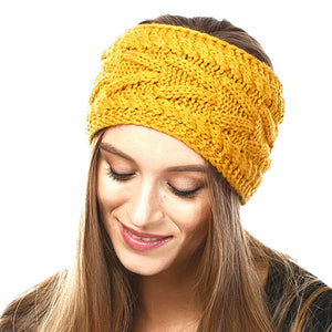 Wide Solid Mustard Cable Knit Earmuff Headband Soft Mustard Knit Ear Warmer Headband soft cable knit ear warmer will shield you from cold weather ensuring all day comfort. The ear band is wide, soft & comfortable adding a sleek style to your ensemble. Perfect Gift Christmas, Birthday, Holiday, Anniversary, Valentine's Day, Loved One