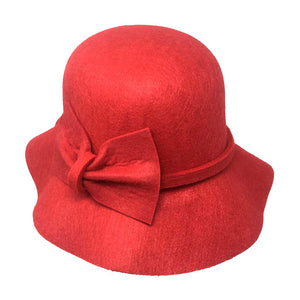 Warm Red Bow Accent Cloche Hat Vintage Wool Feel Fedora Solid Bowler Hat adds a great accent to your wardrobe. Beautiful, timeless & classic cloche hat looks cool & elegant. Perfect for that bad hair day, or casual everyday wear, pairs well with ensemble; Perfect Gift Birthday, Holiday, Christmas, Anniversary, Valentine's Day