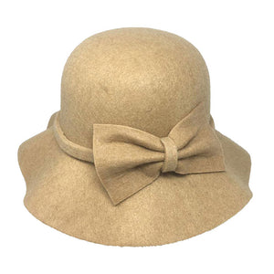 Warm Beige Bow Accent Cloche Hat Vintage Wool Feel Fedora Solid Bowler Hat adds a great accent to your wardrobe. Beautiful, timeless & classic cloche hat looks cool & elegant. Perfect for that bad hair day, or casual everyday wear, pairs well with ensemble; Perfect Gift Birthday, Holiday, Christmas, Anniversary, Valentine's Day