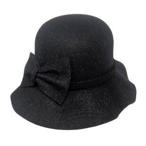 Warm Black Bow Accent Cloche Hat Vintage Wool Feel Fedora Solid Bowler Hat adds a great accent to your wardrobe. Beautiful, timeless & classic cloche hat looks cool & elegant. Perfect for that bad hair day, or casual everyday wear, pairs well with ensemble; Perfect Gift Birthday, Holiday, Christmas, Anniversary, Valentine's Day