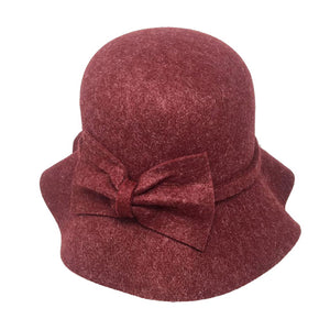 Warm Burgundy Bow Accent Cloche Hat Vintage Wool Feel Fedora Solid Bowler Hat adds a great accent to your wardrobe. Beautiful, timeless & classic cloche hat looks cool & elegant. Perfect for that bad hair day, or casual everyday wear, pairs well with ensemble; Perfect Gift Birthday, Holiday, Christmas, Anniversary, Valentine's Day