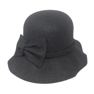 Warm Dark Gray Bow Accent Cloche Hat Vintage Wool Feel Fedora Solid Bowler Hat adds a great accent to your wardrobe. Beautiful, timeless & classic cloche hat looks cool & elegant. Perfect for that bad hair day, or casual everyday wear, pairs well with ensemble; Perfect Gift Birthday, Holiday, Christmas, Anniversary, Valentine's Day