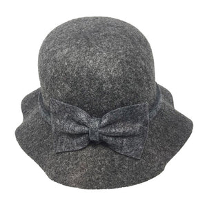 Warm Gray Bow Accent Cloche Hat Vintage Wool Feel Fedora Solid Bowler Hat adds a great accent to your wardrobe. Beautiful, timeless & classic cloche hat looks cool & elegant. Perfect for that bad hair day, or casual everyday wear, pairs well with ensemble; Perfect Gift Birthday, Holiday, Christmas, Anniversary, Valentine's Day