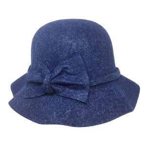 Warm Navy Bow Accent Cloche Hat Vintage Wool Feel Fedora Solid Bowler Hat adds a great accent to your wardrobe. Beautiful, timeless & classic cloche hat looks cool & elegant. Perfect for that bad hair day, or casual everyday wear, pairs well with ensemble; Perfect Gift Birthday, Holiday, Christmas, Anniversary, Valentine's Day
