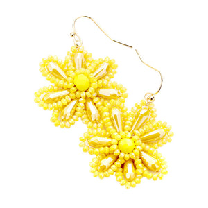 Yellow Beaded Flower Earrings, jewelry that fits your lifestyle adding a pop of pretty color. Enhance your attire with this vibrant beautiful modish daisy dangle earrings. Perfect Birthday Gift, Mother's Day Gift, Anniversary Gift, Thank you Gift, complete your Easter Ensemble, Daisy Jewelry, Floral Earrings, Flower Earrings