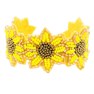 Yellow Vibrant Floral Cuff Bracelet, Yellow Seed Bead Sunflower Cuff, Seed Beaded Bracelet, Floral Bracelet, Seed Bead Handcrafted Bracelet, Perfect Birthday Gift, Valentine's Day Gift, Anniversary Gift, Love You Gift, Mother's Day Gift, Thank you Gift, Statement Bracelet, Yellow Sunflower Bracelet, Sunflower Jewelry