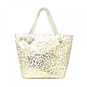 Gold Metallic Leopard Pattern Print Beach Tote Bag Shopper, roomy for all your essentials for a day out, for a day at the beach, poolside or getaway. Folds flat for easy packing. Perfect Birthday Gift, Valentine's Day Gift, Anniversary Gift, Mother's Day Gift, Thank you Gift, Just Because Gift, Beach Bag, Shopper Bag