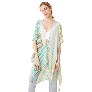 Green Beach, Poolside chic made easy with this lightweight Gingham Check Cover Up featuring relaxed silhouette, great over your swimsuit or wear over your favorite blouse & slacks, Perfect Birthday Gift, Anniversary Gift, Mother's Day Gift, Lightweight Cover-up, Fun Beachwear, Gingham Check Kimono, Gingham Check Beachwear