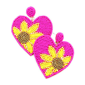 Fuchsia Heart Sunflower Earrings, spring is around the corner, bring some sunshine to your day with these handcrafted dangle earrings Perfect Birthday Gift, Valentine's Day Gift, Anniversary Gift, Loved One Gift,  Mother's Day Gift, Seed Bead Earrings, Sunflower Earrings, Heart Earrings, Statement Earrings, Handcrafted Earrings