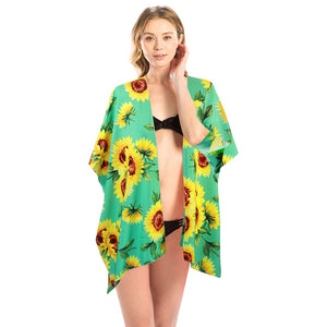 Mint Sunflower Kimono, Vacation Ready Kimono, Beach Ready Cover Up, Sunflower Print Kimono, open front  Kimono, Wear over your favorite blouse & slacks Perfect Birthday Gift, Valentine's Day Gift, Anniversary Gift, Mother's Day Gift, Lightweight Kimono, Sunflower Cover-up, Fun Beachwear, Floral Print Kimono, Floral Cover Up