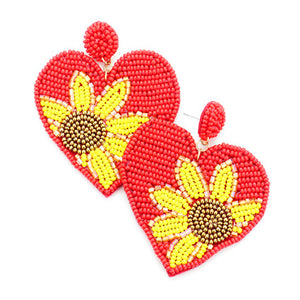 Red Heart Sunflower Earrings, spring is around the corner, bring some sunshine to your day with these handcrafted dangle earrings Perfect Birthday Gift, Valentine's Day Gift, Anniversary Gift, Loved One Gift,  Mother's Day Gift, Seed Bead Earrings, Sunflower Earrings, Heart Earrings, Statement Earrings, Handcrafted Earrings