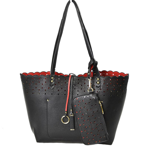 Best Seller - Vegan Laser Cut Edge Reversible Bag Faux Leather Shoulder Bag Tote 3 in 1 Pouch & coin Purse, largely spaced, keep essentials safe, elegant trendy & chic, take it to a school, work or a day trip, simple sophistication, coordinate with any ensemble from business casual to everyday wear. Perfect Gift for her