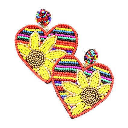 Serape Sunflower Earrings Heart Sunflower Earrings, spring is around the corner, bring some sunshine to your day with these handcrafted dangle earrings Perfect Birthday Gift, Valentine's Day Gift, Anniversary Gift, Loved One Gift,  Mother's Day Gift, Seed Bead Earrings, Sunflower Earrings, Heart Earrings, Statement Earrings, Handcrafted Earrings