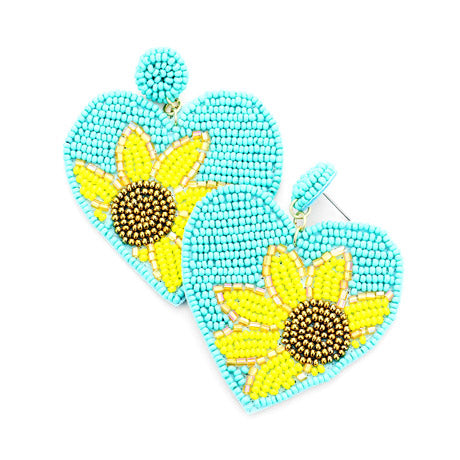 Turquoise Heart Sunflower Earrings, spring is around the corner, bring some sunshine to your day with these handcrafted dangle earrings Perfect Birthday Gift, Valentine's Day Gift, Anniversary Gift, Loved One Gift,  Mother's Day Gift, Seed Bead Earrings, Sunflower Earrings, Heart Earrings, Statement Earrings, Handcrafted Earrings