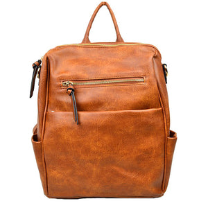 Brown Vegan Backpack, Modern Chic Vegan Multi Pocket, Brown Faux Leather Backpack, largely spaced