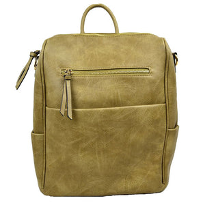 Olive Vegan Backpack, Modern Chic Vegan Multi Pocket, Olive Faux Leather Backpack, largely spaced