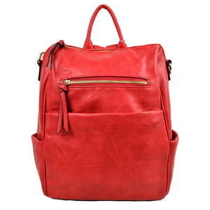 Red Vegan Backpack, Modern Chic Vegan Multi Pocket, Red Faux Leather Backpack, largely spaced