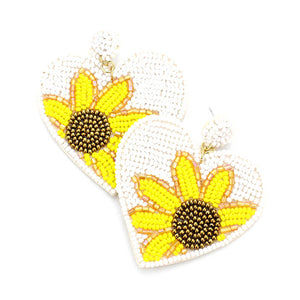 White Heart Sunflower Earrings, spring is around the corner, bring some sunshine to your day with these handcrafted dangle earrings Perfect Birthday Gift, Valentine's Day Gift, Anniversary Gift, Loved One Gift,  Mother's Day Gift, Seed Bead Earrings, Sunflower Earrings, Heart Earrings, Statement Earrings, Handcrafted Earrings