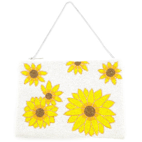 Bright Vibrant Clutch Bag, Seed Bead Sunflower Crossbody Bag,  Perfect Birthday Gift, Valentine's Day Gift, Anniversary Gift, Loved One Gift, Mother's Day Gift, Vacation Ready, Sunflower Clutch Bag, seed Bead Handbag, Handcrafted Handbag, Glass Handbag, Beach Crossbody Bag, White Sunflower Handbag