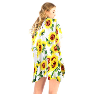 White Sunflower Kimono, Vacation Ready Kimono, Beach Ready Cover Up, Sunflower Print Kimono, open front  Kimono, Wear over your favorite blouse & slacks Perfect Birthday Gift, Valentine's Day Gift, Anniversary Gift, Mother's Day Gift, Lightweight Kimono, Sunflower Cover-up, Fun Beachwear, Floral Print Kimono, Floral Cover Up