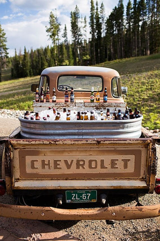 Beer truck at western wedding ceremony
