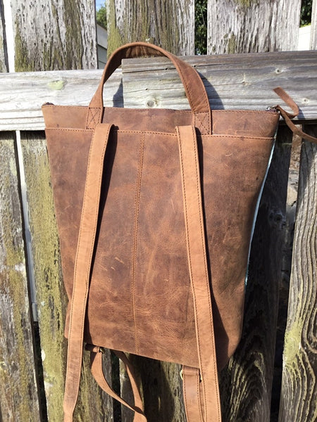 Tan cowhide backpack