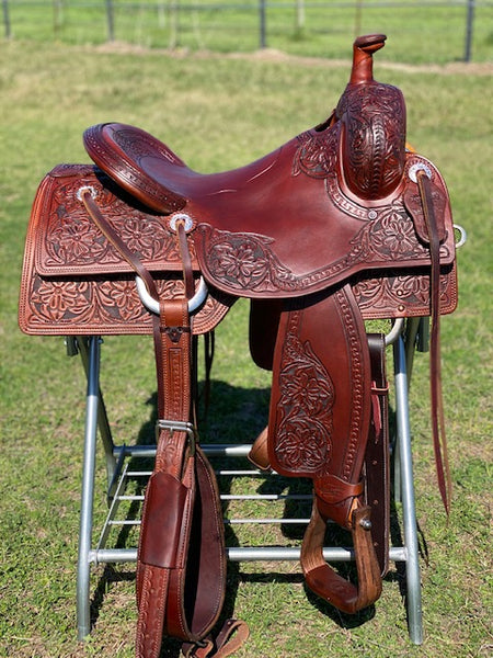 floral tooled saddle