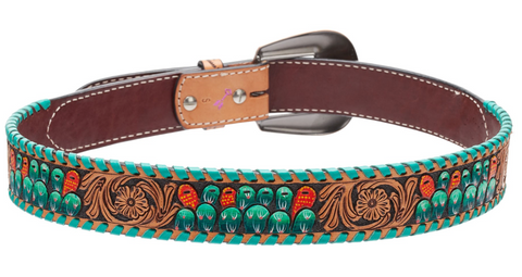 Leather tooled belt