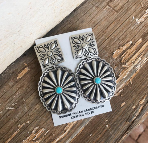 Stamped turquoise earrings