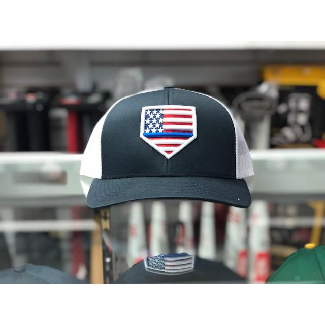"Rep Your Flag- USA ""THIN BLUE LINE"" Navy/White Mesh (Snap Back)"